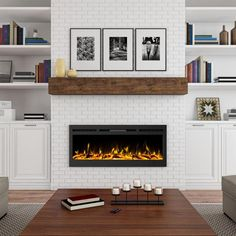 Built In Around Fireplace, Built In Electric Fireplace, Fireplace Built Ins, White Fireplace, Farmhouse Fireplace, Diy Fireplace, Living Room With Fireplace, Fireplace Surrounds, Electric Fireplaces