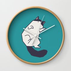 """Available in natural wood, black or white frames, our 10"""" diameter unique Wall Clocks feature a high-impact plexiglass crystal face and a backside hook for easy hanging. Choose black or white hands to match your wall clock frame and art design choice. Clock sits 1.75"""" deep and requires 1 AA battery (not included). #kitten #kitty #cat #cute #colorful #animal #pet #minimal #art #illustration #zazzle #society6 #threadless #teespring #teepublic #graphicdesign #minimalism"""