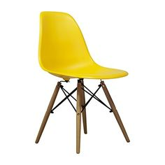 Charles Eames DSW Style Side Chair Mid Century Modern, Yellow