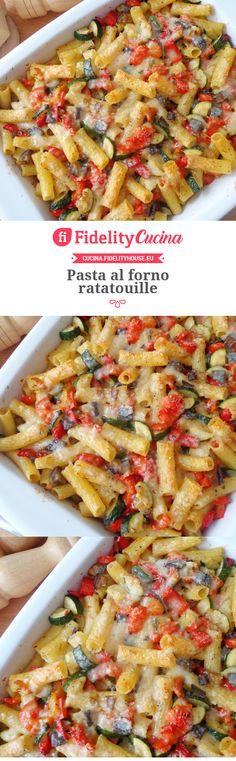 Pasta al forno ratatouille Pasta Recipes, Real Food Recipes, Vegetarian Recipes, Healthy Recipes, Crepes, Avocado Pasta, One Pot Pasta, Pizza, Macaron