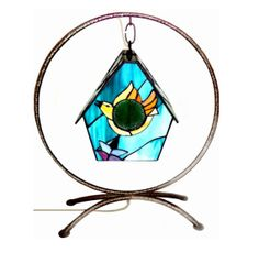 Vintage Birdhouse Lamp Stained Glass Shade Wrought Iron Circular Stand Unique Artisan Hand Crafted Lighting via Etsy