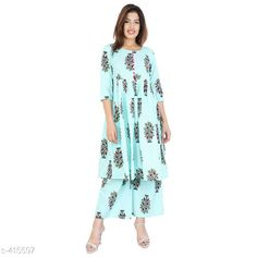 Kurta Sets Fancy Women Kurta Sets Fabric: Cotton Sleeves: Sleeves Are Included  Size: Kurti - M - 38 in Palazzo - 30 in/ Kurti - L - 40 in Palazzo - 32 in/ Kurti - XL - 42 in Palazzo - 34 in/ Kurti - M - 44 in Palazzo - 36 in Length: Kurtis - Up To 46 in              Palazzo - Up To 39 in Type: Stitched Description: It Has 1 Piece Of Kurti And 1 piece Of Palazzo Work/Pattern: Printed Country of Origin: India Sizes Available: XXS, XS, S, M, L, XL, XXL, XXXL, 4XL, 6XL, 7XL, 8XL, 9XL, 10XL, Free Size   Catalog Rating: ★4 (410)  Catalog Name: Womens Elegant Dailywear Kurtis Vol 2 CatalogID_44973 C74-SC1003 Code: 714-415597-3201