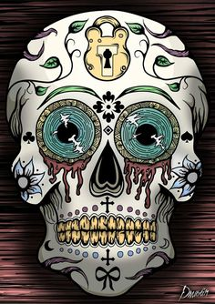 Tattoo Design - Sugar Skull by AlgerinArt on DeviantArt Sugar Skull Costume, Sugar Skull Halloween, Sugar Skull Makeup, Sugar Skull Art, Halloween Makeup, Halloween Costumes, Sugar Skulls, Halloween Halloween, Mexican Skulls