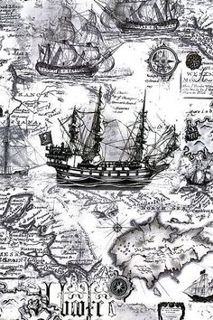 Graffiti Kunst, Treasure Maps, Buried Treasure, Pirate Maps, Ship Drawing, Vintage Maps, Antique Maps, Pirate Life, Nautical Art