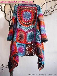 Chaleco con cuadrados a crochet