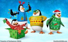 Penguins of Madagascar Christmas HD wallpaper and desktop background with Skipper, Kowalski, Private and Rico!