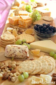a rustic fruit and cheese platter