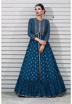 Beautiful Jacket Style Dress with Hand Embroidery embellishments. Designer Anarkali Dresses, Designer Gowns, Pakistani Dresses, Fashion Pants, Fashion Dresses, Women's Fashion, Lengha Dress, Western Dresses, Western Gown