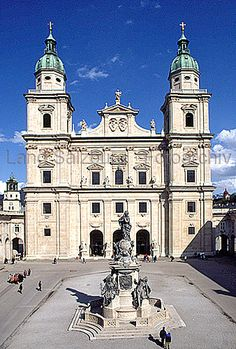 The Salzburg Cathedral (Salzburger Dom) is a 17th century baroque cathedral of the Roman Catholic Archdiocese of Salzburg in the city of Salzburg.  It is the site of Mozart's baptism.  Salzburg, Austria