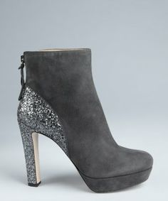style #324691901 anthracite suede glitter heel platform ankle boots-Miu Miu
