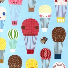 Fabric Shelf - Handle With Care - Balloon Chase in Bright by Suzy Ultman for Robert Kaufman 1 yd Cotton Quilt Fabric.