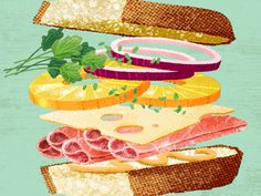 Ingvard the Terrible : Illustrator, Viking, Dude: Mmm, sandwiches. Dessert Illustration, Graphic Illustration, Sandwich Drawing, Maui Luau, Pinterest Instagram, Food Icons, Food Drawing, Fruit Art, Chalk Art