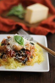 Spaghetti Squash Eggplant Caponata   Theroastedroot.net #vegetarian #healthy #recipe