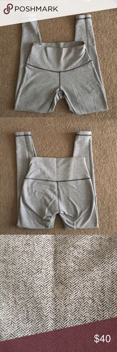 Lululemon leggings Gray pattern, super comfortable and soft, barely been worn. Has two lululemon symbols so you can wear them high waisted or rolled down lululemon athletica Pants Leggings