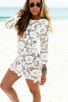 """Style perfection perfectly describes this gorgeous Lace Cover up. Put on your favorite swimsuit and slide on a pair of flip flops for an effortless style that can't go wrong. Sizing S-L - Bust: S-33"""","""