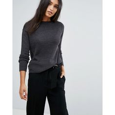 Mango Crew Neck Knitted Jumper (£18) ❤ liked on Polyvore featuring tops, sweaters, grey, long sleeve sweater, extra long sleeve sweater, grey crewneck sweater, grey sweater and gray sweater