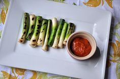 Gojee - Grilled Baby Leeks with Romesco Sauce by Turntable Kitchen