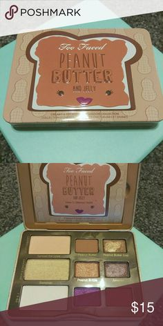 TF Peanut Butter and Jelly palette Too Faced Peanut Butter and Jelly palette. Only used a couple of times. I just can't make it work on me. Usage shown in second photo.   Same listing as before - first buyer canceled. Too Faced Makeup Eyeshadow