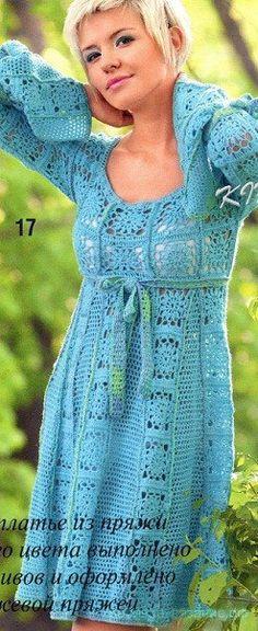 Ажурные платья из мотивов крючком. Вязание крючком платьев мотивами. |