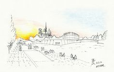 Notre Dame Cathedral viewed from the Seine riverside @ Paris, France, 20120512 / Sketch by Youngdong Jang