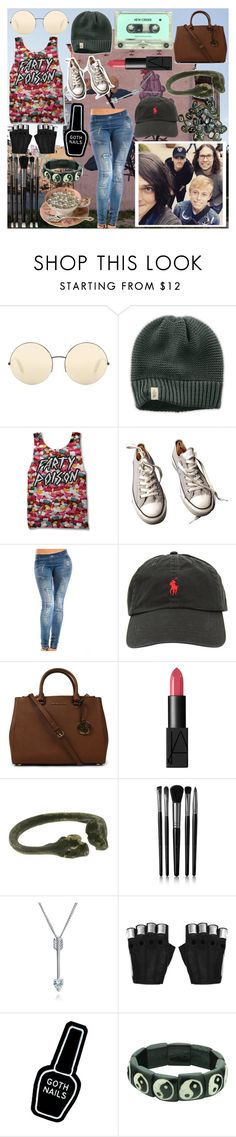 """""""Shout out and a video"""" by frerardforever ❤ liked on Polyvore featuring Victoria Beckham, The North Face, Sober Is Sexy, Converse, Ralph Lauren, Michael Kors, NARS Cosmetics, Lady Grey, Illamasqua and Bling Jewelry"""