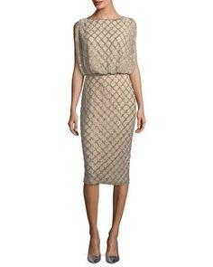 Beaded+Sleeveless+Cocktail+Dress+by+Rachel+Gilbert+at+Bergdorf+Goodman.