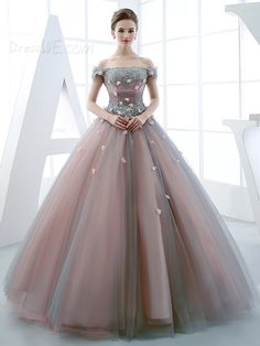 Dresswe.com SUPPLIES Princess Off The Shoulder Applique Lace Up Back Quinceanera Ball Gown Quinceanera Dresses