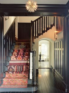 different kilim rugs on stairs
