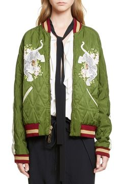 Chloé Reversible Embroidered Tech Satin Bomber Jacket available at #Nordstrom