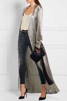 For a fun night out, pair mid-rise jeans with heels, a cami, and a sparkly long cardigan. Let Daily Dress Me help you find the perfect outfit for whatever the weather! dailydressme.com/