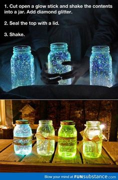Glow stick jar, with neon pink ones and maybe orange might be amazing in the evening.