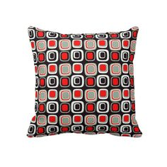Unique, trendy, decorative and pretty pillow. With beautiful black, classy and chic bright red, and white colored 50s, 60s, or 70s modern deco round squares pattern. This vintage retro design was made for the hip decor trendsetter, the modernism style lover, nouveau art or graphic motif designer. Cute kid's, mom's or dad's birthday present, Father's or Mother's day, or fun Christmas gift. An original and cool pillow for the master or children's bedroom, living or family room, or man cave.