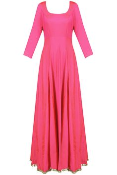 Hot pink kalidaar anarkali kurta with off white gota patti dupatta available only at Pernia's Pop Up Shop.