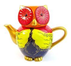 Owl ceramic teapot hand-painted in bright colors  Pinned by www.myowlbarn.com