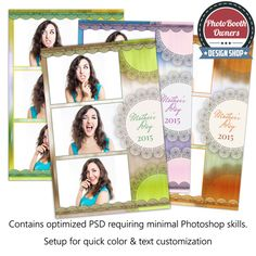 This soft photo booth template is reminiscent of the view through a wet window, or a beautiful watercolor, accented by a band of pretty lace or doily.   Border, background and lace colors can easily be adjusted to compliment any event. With this template you can modify the colors within the PSD through provided hue/saturation layer.
