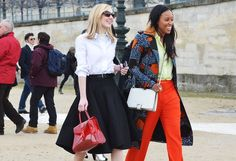 I love the circle skirt with the oxford shirt and red bag