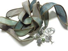 Tree of Life Wrap Silk Bracelet Yoga Bracelet Hamsa Hand by HVart