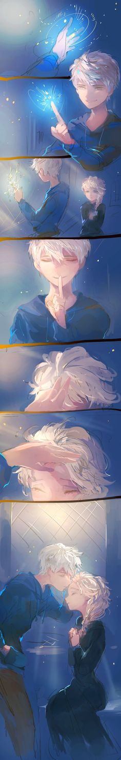 Frozen's Elsa and Rise of the Guardians' Jack Frost- I don't ship them, but this…