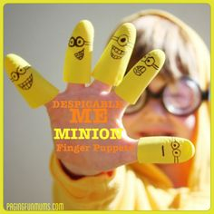 Despicable Me 'Minion' Finger Puppets. Made by cutting the fingers off of rubber gloves and using a felt tip marker to add the faces.