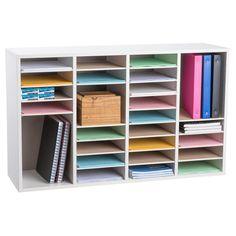 AdirOffice Wood Adjustable 36 Compartment Literature Organizer, - The Home Depot Literature Organizer, Magazine Storage, The Home Edit, File Folder, Wood Construction, Room Organization, Storage Boxes, Organizing, Room Ideas