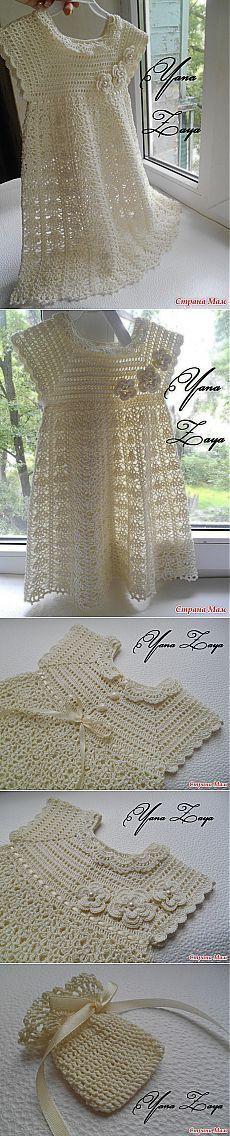 "Vestido para niña, color crudo a crochet. Крестильный комплект ""Очарование"". [] #<br/> # #Crochet #Bouquet,<br/> # #Crochet #Dresses,<br/> # #Crochet #Clothes,<br/> # #Knitting #And #Crocheting,<br/> # #Crochet #Tablecloth,<br/> # #Crochet #Baby,<br/> # #Baby #Dresses,<br/> # #Children,<br/> # #Kids<br/>"
