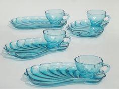 Vintage Capri blue glass snack sets, swirled seashell shape cups & plates