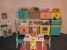 I had this and stupidly sold it.  Got as a present in 1963.  Perfect Barbie size.  Deluxe Reading Kitchen by Elizabeth 1986, via Flickr Barbie Kitchen, Ken Doll, Barbie Dream House, Childhood Toys, Monster High Dolls, Vintage Love, Vintage Furniture, Barbie Diorama, Barbie And Ken