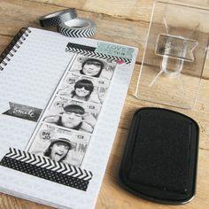 Set de 2 Washi Tape a Topitos y Chevron color negro - Scrapbook