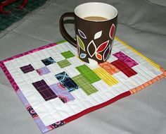 scrappy colour block mug rug