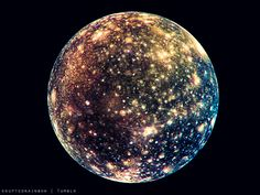 """Callisto, Jupiter's moon-Spectacular! According to NASA, it has the darkest surface of the four Galilean moons, but is twice as bright as our moon :) It is also the most heavily cratered object in the entire solar system!"""