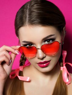 123RF - Millions of Creative Stock Photos, Vectors, Videos and Music Files For Your Inspiration and Projects. Heart Shaped Glasses, Heart Glasses, Nice Glasses, Girls With Glasses, Red Lip Makeup, Wearing Glasses, Crop Top Bikini, Young And Beautiful, Beautiful Women