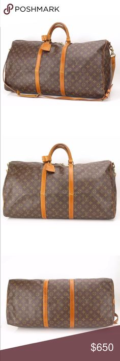 "Authentic Louis Vuitton Keepall 60 Bandouliere This stylish travel duffel is crafted of classic Louis Vuitton monogram coated canvas.This bag features vachetta cowhide leather rolled and reinforced top handles and trim with polished brass hardware and an optional shoulder strap. The top zippers open to a spacious cocoa brown fabric interior. This is a an iconic piece of luggage, fabulous for overnight or weekend travel, with the special touch of luxury and style, from Louis Vuitton!23x13""…"