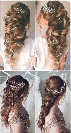 Most romantic bridal with thick loose braid and hair pins wedding hairstyles for. - - Most romantic bridal with thick loose braid and hair pins wedding hairstyles for long hair romantic braids Long Hair Wedding Styles, Wedding Hair Pins, Wedding Hair And Makeup, Wedding Updo, Bridal Hair, Braids For Wedding, Loose Wedding Hair, Loose Hair, Wedding Stage