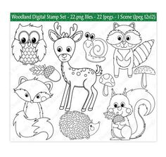 Woodland Animals Digital StampsDigital StampsWoodland StampsForest Animal ClipartAnimal ClipartCommercial Use S25